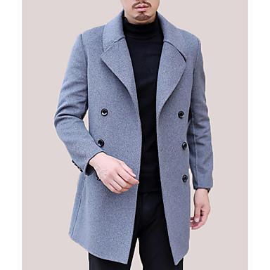 お買い得  メンズファッション-男性用 日常 ベーシック ロング コート, ソリッド 折襟 長袖 ウール ブラック / ネイビーブルー / グレー XL / XXL / XXXL