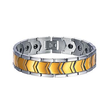 Ανδρικά Δίχρωμο Σύνδεσμος   Αλυσίδα Βραχιόλια με Αλυσίδα   Κούμπωμα  Ανοξείδωτο Ατσάλι Μοντέρνα Βραχιόλια Κοσμήματα Χρυσό f270d72c832