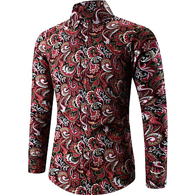billige Herrers Mode Beklædning-Herre - Geometrisk Trykt mønster Vintage Plusstørrelser Skjorte Guld XXXL / Langærmet