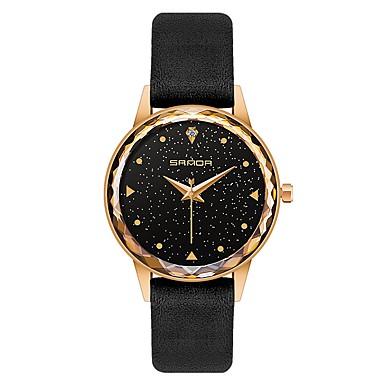 preiswerte Damen Uhren-SANDA Damen Uhr Kleideruhr Armbanduhr Japanisch Japanischer Quartz Echtes Leder Schwarz / Rot 30 m Wasserdicht Kreativ Cool Analog damas Modisch Astronomisch Schwarz Rot / Imitation Diamant