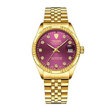 levne Pánské-Pánské Náramkové hodinky japonština Křemenný Nerez Stříbro / Zlatá Voděodolné Kalendář Chronograf Analogové Luxus Třpyt - Fialová Červená Modrá Dva roky Životnost baterie / Svítící / imitace Diamond