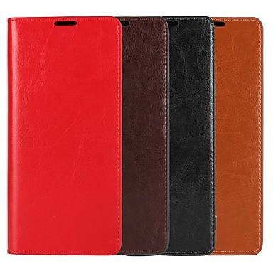 Недорогие Чехлы и кейсы для Galaxy Note 4-Кейс для Назначение SSamsung Galaxy Note 9 / Note 8 / Note 5 Кошелек / Бумажник для карт / со стендом Чехол Однотонный Твердый Настоящая кожа