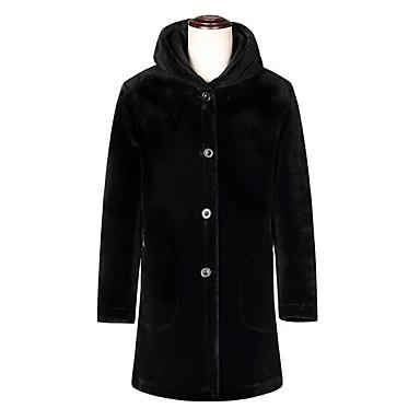 お買い得  メンズファッション-男性用 日常 レギュラー コート, ソリッド フード付き 長袖 ウール ブラック XL / XXL / XXXL