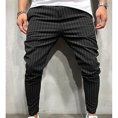 cheap Men's Pants-Men's Basic / Street chic Daily Sweatpants Pants - Solid Colored / Striped Army Green Khaki Light gray XL XXL XXXL