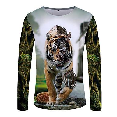 economico Abbigliamento uomo-T-shirt - Taglie forti Per uomo Serata Boho / Moda città Con stampe, Monocolore / 3D / Animali Rotonda Tigrato Verde XXXL / Manica lunga / Inverno