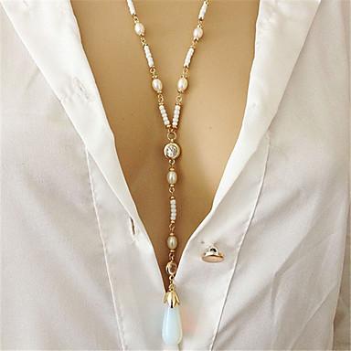 billige Mode Halskæde-Dame Månesten Lang lang halskæde Imiteret Perle Trendy Mode Elegant Guld 31+4.5 cm Halskæder Smykker 1pc Til Fest Fest / aften