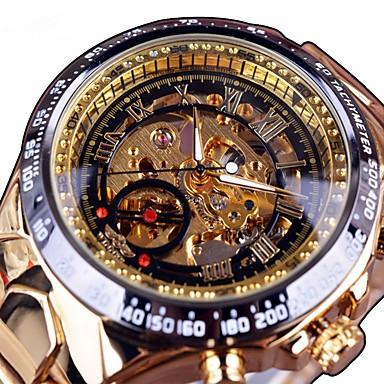 bc348bf13 baratos Relógios Masculinos-Homens Relógio Esqueleto relógio mecânico  Quartzo Aço Inoxidável Preta / Dourada Gravação
