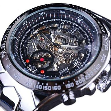 Χαμηλού Κόστους Ανδρικά ρολόγια-Ανδρικά Διάφανο Ρολόι μηχανικό ρολόι Χαλαζίας Ανοξείδωτο Ατσάλι Μαύρο / Χρυσό Εσωτερικού Μηχανισμού Μεγάλο καντράν Αναλογικό Καθημερινό Μοντέρνα -