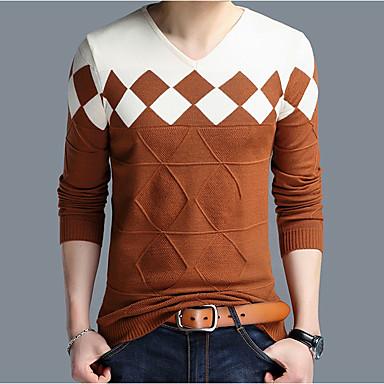 economico Abbigliamento uomo-Per uomo Quotidiano Essenziale Monocolore Manica lunga Standard Pullover, A V Arancione / Cammello / Vino XXL / XXXL / XXXXL