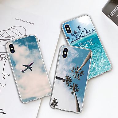 voordelige iPhone 7 hoesjes-hoesje Voor Apple iPhone XS / iPhone XR / iPhone XS Max Patroon Achterkant Planten / Uitzicht op de stad Zacht TPU
