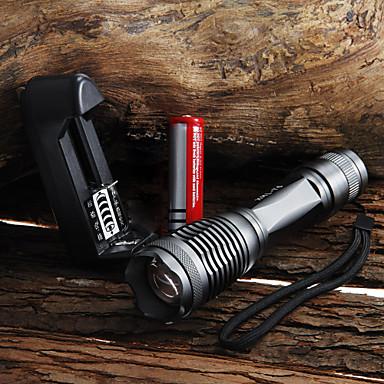 UltraFire LED손전등 2000 lm LED LED 1 이미 터 5 조명 모드 배터리, 충전기 포함 방수 줌이 가능한 조절가능한 초점 캠핑 / 등산 / 동굴탐험 일상용 사이클링 블랙 / 알루미늄 합금