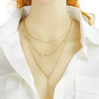 billige Mote Halskjede-Dame lagdelte Hals Lang Halskjede stables Vertikal Mote Chrome Gull Sølv 42 cm Halskjeder Smykker 1pc Til Daglig