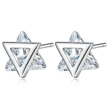 Women's Classic Stud Earrings - Imitation Diamond Simple Trendy Jewelry Silver For Gift Daily 1 Pair