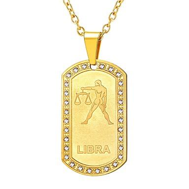 billige Damesmykker-Dame Klar Anheng Halskjede Zodiac Vekten Mote Rustfritt Stål Gull Svart Sølv 55 cm Halskjeder Smykker 1pc Til Gave Daglig