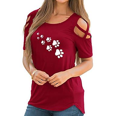 billige T-shirts & Tank Tops-Dame - Geometrisk Basale T-shirt Rød L