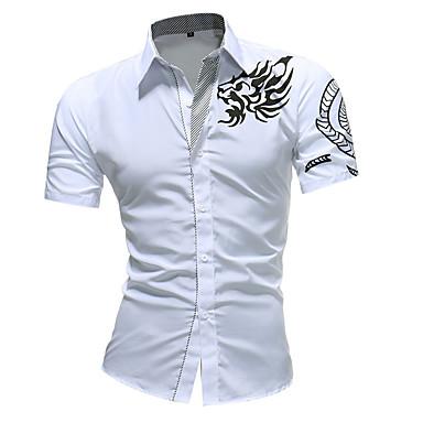 economico Abbigliamento uomo-Camicia Per uomo Tribale Bianco XXL / Manica corta / Taglia piccola