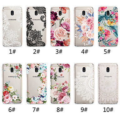 voordelige Galaxy J-serie hoesjes / covers-hoesje Voor Samsung Galaxy J7 (2017) / J6 (2018) / J6 Plus Transparant / Patroon Achterkant Lace Printing / Bloem Zacht TPU