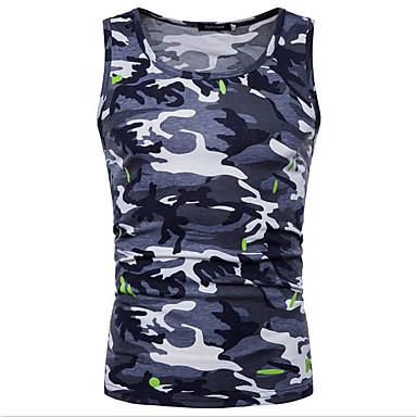 economico Abbigliamento uomo-Canotte - Taglie UE / USA Per uomo Camouflage Rotonda Marrone L / Senza maniche / Taglia piccola