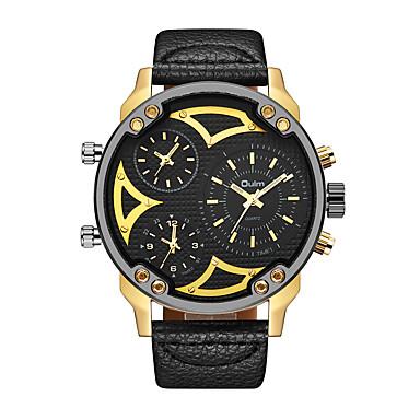 levne Pánské-Oulm Pánské Náramkové hodinky japonština Křemenný Kůže Černá Hodinky s trojitým časem Cool Velký ciferník Analogové Módní Steampunk - Černá zlatá + černá zlatá + bílá Jeden rok Životnost baterie