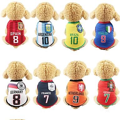 4128bdd88 كلاب سترة ملابس الكلاب ألوان متناوبة مخطط مطبوعة بأحرف وأرقام أصفر أحمر  أزرق شبكة كوستيوم من