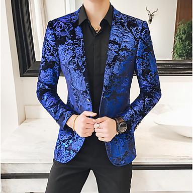 ieftine Îmbrăcăminte la Modă Bărbați-Bărbați Blazer, Floral Rever Clasic Poliester Albastru piscină