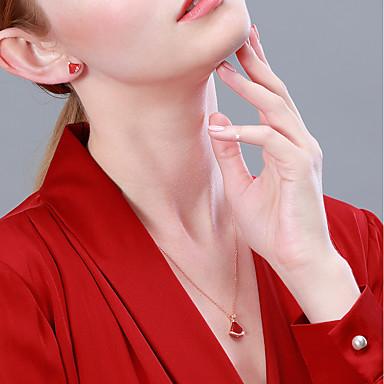 Naisten Kaulakoru S925 Sterling Hopea Ruusun punainen 40+3 cm Kaulakorut Korut 1kpl Käyttötarkoitus Syntymäpäivä mielitietty