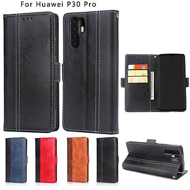 tok Για Huawei Huawei P30 / Huawei P30 Pro Πορτοφόλι / Θήκη καρτών / Ανοιγόμενη Πλήρης Θήκη Μονόχρωμο Σκληρή PU δέρμα για Huawei P30 / Huawei P30 Pro / Huawei P30 Lite