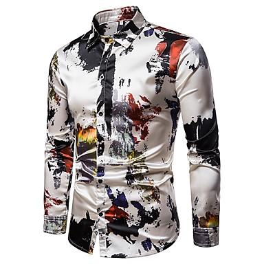 ieftine Îmbrăcăminte la Modă Bărbați-Bărbați Guler Clasic Cămașă Petrecere Șic Stradă - Abstract Imprimeu Gri / Manșon Lung