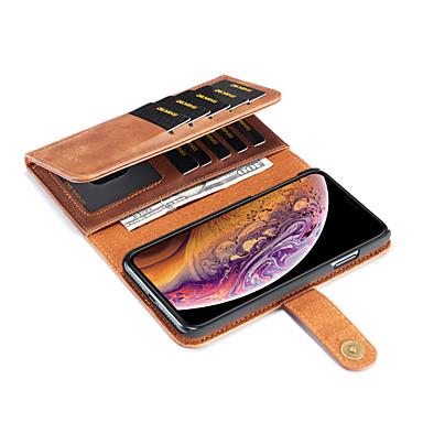 voordelige iPhone-hoesjes-hoesje Voor Apple iPhone XS / iPhone XR / iPhone XS Max Portemonnee / Kaarthouder / met standaard Volledig hoesje Effen Hard PU-nahka