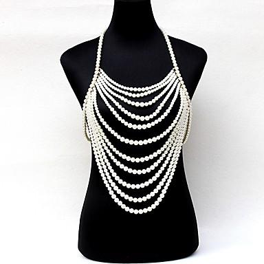 preiswerte Körperschmuck-Damen Körperschmuck 80 cm Körper-Kette / Bauchkette Weiß Einzigartiges Design Künstliche Perle Modeschmuck Für Hochzeit / Party / Verlobung Sommer