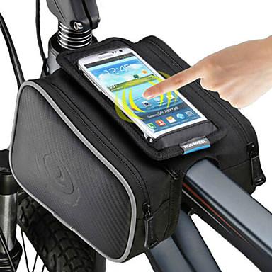 2711186eb ROSWHEEL Bolso del teléfono celular Bolsa para Cuadro de Bici 5 pulgada  Pantalla táctil Ciclismo para iPhone 8 7 6S 6 iPhone X iPhone XR Negro  Ciclismo ...