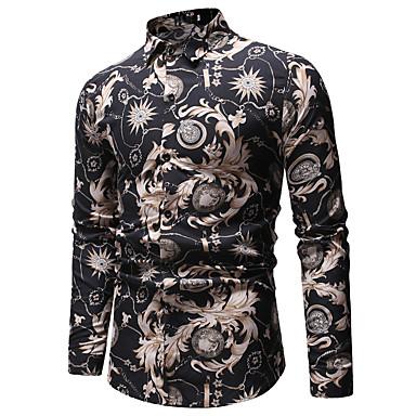 baratos Roupa de Homem Moderna-Homens Camisa Social Estampado, Floral / Geométrica / Estampa Colorida Algodão Preto XL
