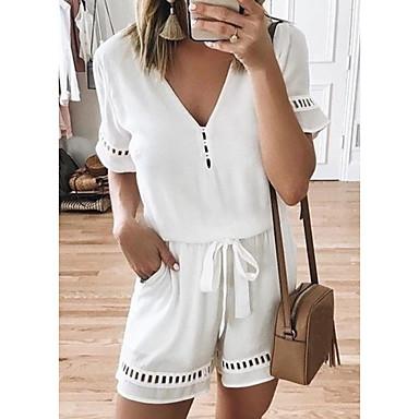 cheap Jumpsuits & Rompers-Women's Causal / Holiday / Beach Beach Style / Street chic V Neck White Black Wine Romper, Solid Colored Chiffon XXXL XXXXL XXXXXL Spring Summer