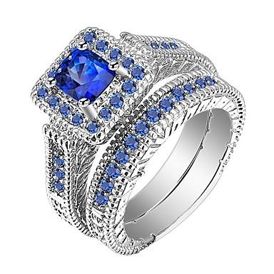 povoljno Prstenje-Muškarci Žene Prsten Modno prstenje Jewelry Plava Za Dar Dnevno 2pcs