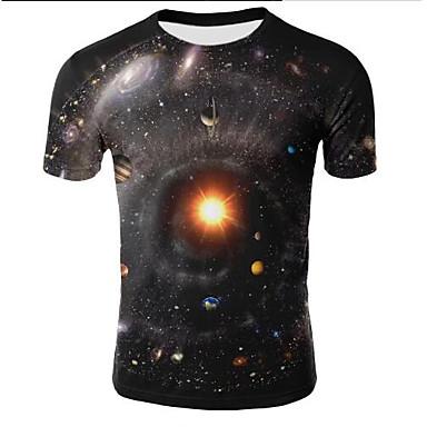 저렴한 남자 상의-남성용 3D 라운드 넥 플러스 사이즈 프린트 - 티셔츠 블랙 XXL