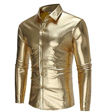 baratos Roupa de Homem Moderna-Homens Camisa Social - Bandagem Sólido Dourado M / Manga Longa