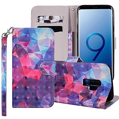 Недорогие Чехлы и кейсы для Galaxy S6-Кейс для Назначение SSamsung Galaxy S9 / S9 Plus / S8 Plus Кошелек / Бумажник для карт / со стендом Чехол Геометрический рисунок / Градиент цвета Твердый Кожа PU