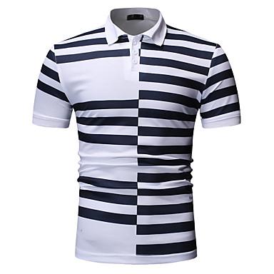 economico Abbigliamento uomo-Polo - Taglie UE / USA Per uomo Collage / Con stampe, A strisce / Monocolore Colletto - Cotone Bianco XL
