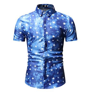 economico Abbigliamento uomo-Camicia Per uomo Con stampe, Fantasia geometrica / Cielo stellato / Pop art Cotone Blu XL