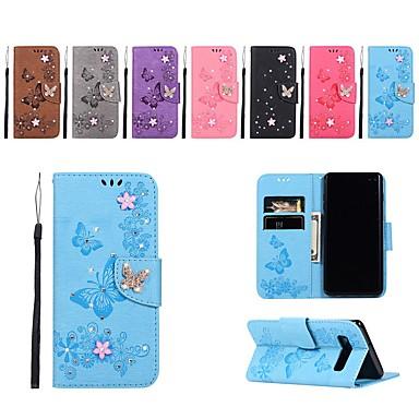 Недорогие Чехлы и кейсы для Galaxy S4 Mini-Кейс для Назначение SSamsung Galaxy S9 / S9 Plus / S8 Plus Кошелек / Бумажник для карт / Стразы Чехол Однотонный / Бабочка / Цветы Твердый Кожа PU