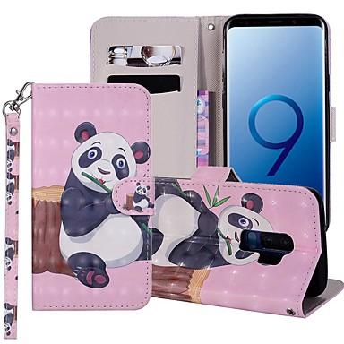 Недорогие Чехлы и кейсы для Galaxy S6-Кейс для Назначение SSamsung Galaxy S9 / S9 Plus / S8 Plus Кошелек / Бумажник для карт / со стендом Чехол Панда Твердый Кожа PU