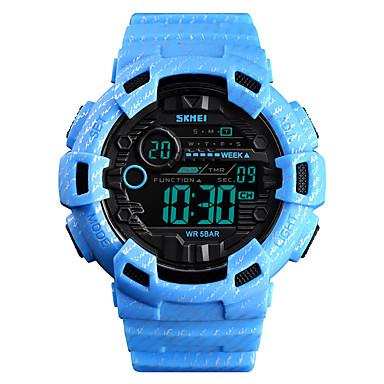 זול שעוני גברים-SKMEI בגדי ריקוד גברים שעונים צבאיים דיגיטלי סיליקוןריצה כחול / ירוק / אפור 50 m Military Alarm כרונוגרף דיגיטלי חוץ אופנתי - כחול בהיר חאקי ירוק כהה שנה אחת חיי סוללה
