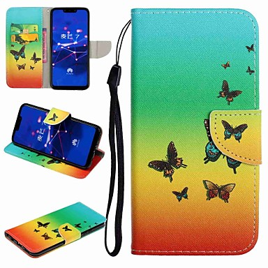 voordelige Huawei Y-serie hoesjes / covers-hoesje Voor Huawei Honor 9 / Honor 8 / Huawei Honor 7 Kaarthouder / met standaard / Flip Volledig hoesje Vlinder / Cartoon Hard PU-nahka