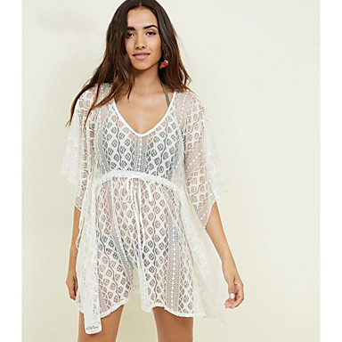 cheap Cover Ups-Women's Basic White Cover-Up Swimwear - Solid Colored Lace Lace up One-Size White