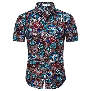 economico Abbigliamento uomo-Camicia - Taglie UE / USA Per uomo Con stampe, Fantasia floreale / Fantasia geometrica / Pop art Cotone Arcobaleno XL