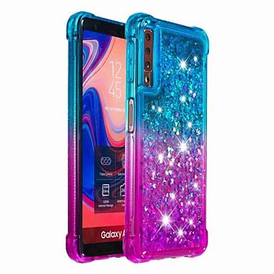 voordelige Galaxy A-serie hoesjes / covers-hoesje Voor Samsung Galaxy Galaxy A7(2018) / Galaxy A9 (2018) / Galaxy A10 (2019) Schokbestendig / Stromende vloeistof Achterkant Glitterglans / Kleurgradatie Zacht TPU