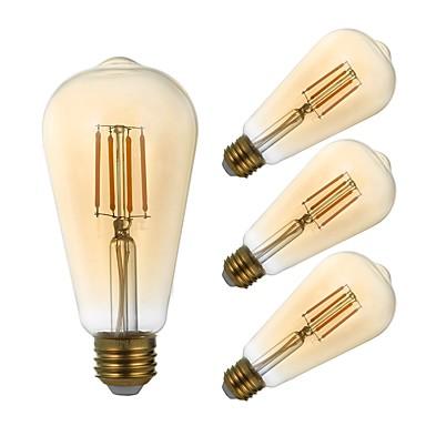 GMY® 4stk 4 W LED-glødepærer 320 lm E26 / E27 ST21 4 LED perler COB Mulighet for demping Dekorativ Ravgult 120 V