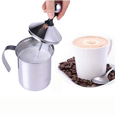 cremă de lapte cu două ochiuri cremă de lapte din spumă de lapte din oțel inoxidabil pentru lapte de cappuccino