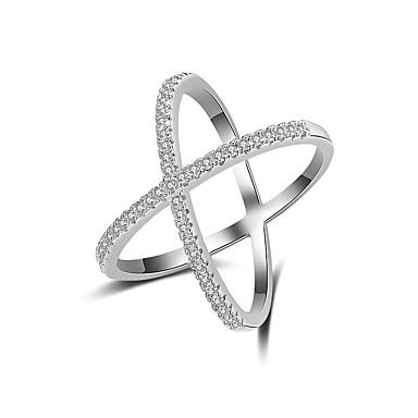 77a55dacc4c8 Mujer Circonita X anillo Anillo Elegante Artístico Anillos de Moda Joyas Plata  Para Fiesta Pedida Regalo