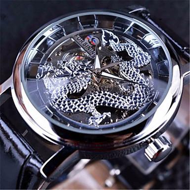 Недорогие Часы на кожаном ремешке-FORSINING Муж. Механические часы С автоподзаводом Натуральная кожа Черный С гравировкой Крупный циферблат Аналоговый На каждый день Череп - Черный Черный / Серебристый Белый / Серебристый
